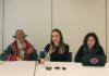 Lucía Montejo y Tania Gonzalez en la rueda de prensa sobre el programa de acogida para víctimas de violaciones de los Derechos Humanos en Colombia