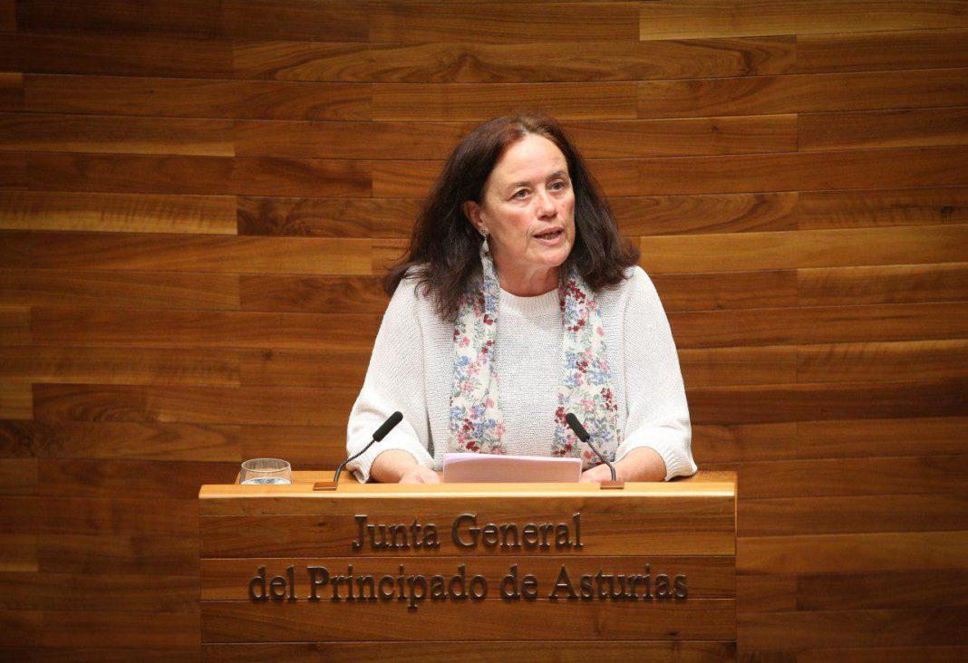 Paula Valero interviniendo en el Pleno de la Junta del Principado