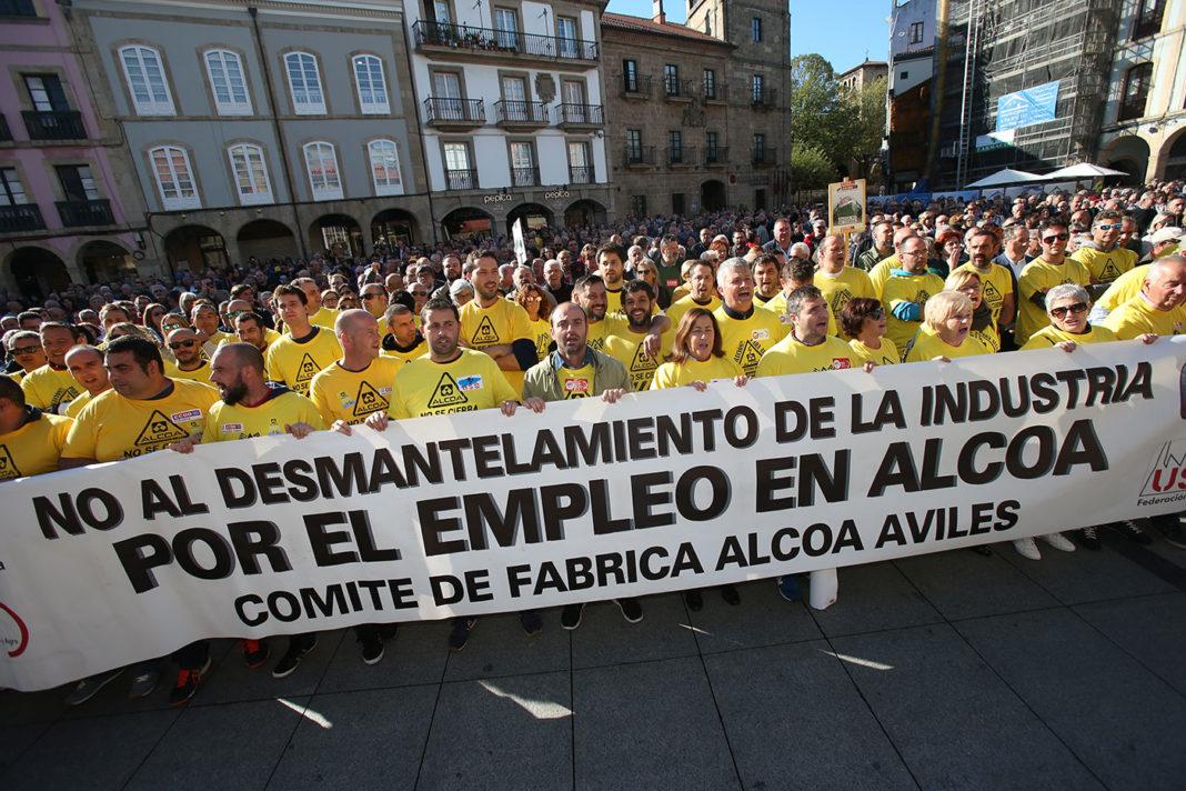 Acto de protesta en Avilés, Alcoa