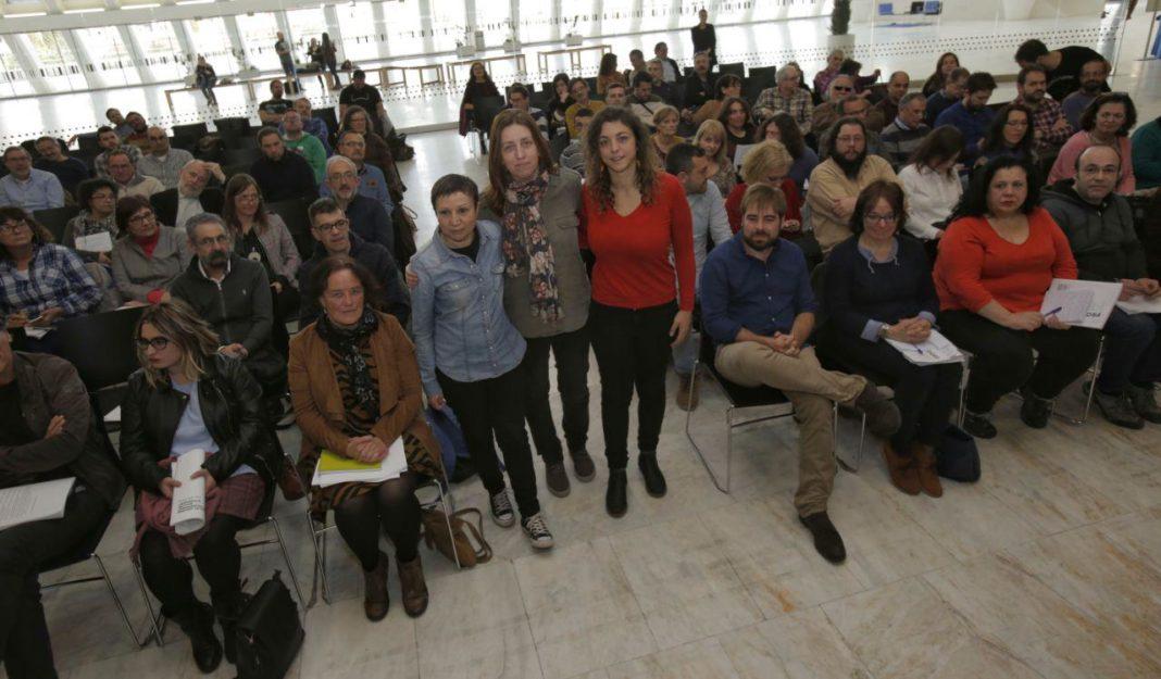 Lorena Gil, Tania Gonzalez y Yolanda Huergo en la conferencia político programática de Podemos Asturies