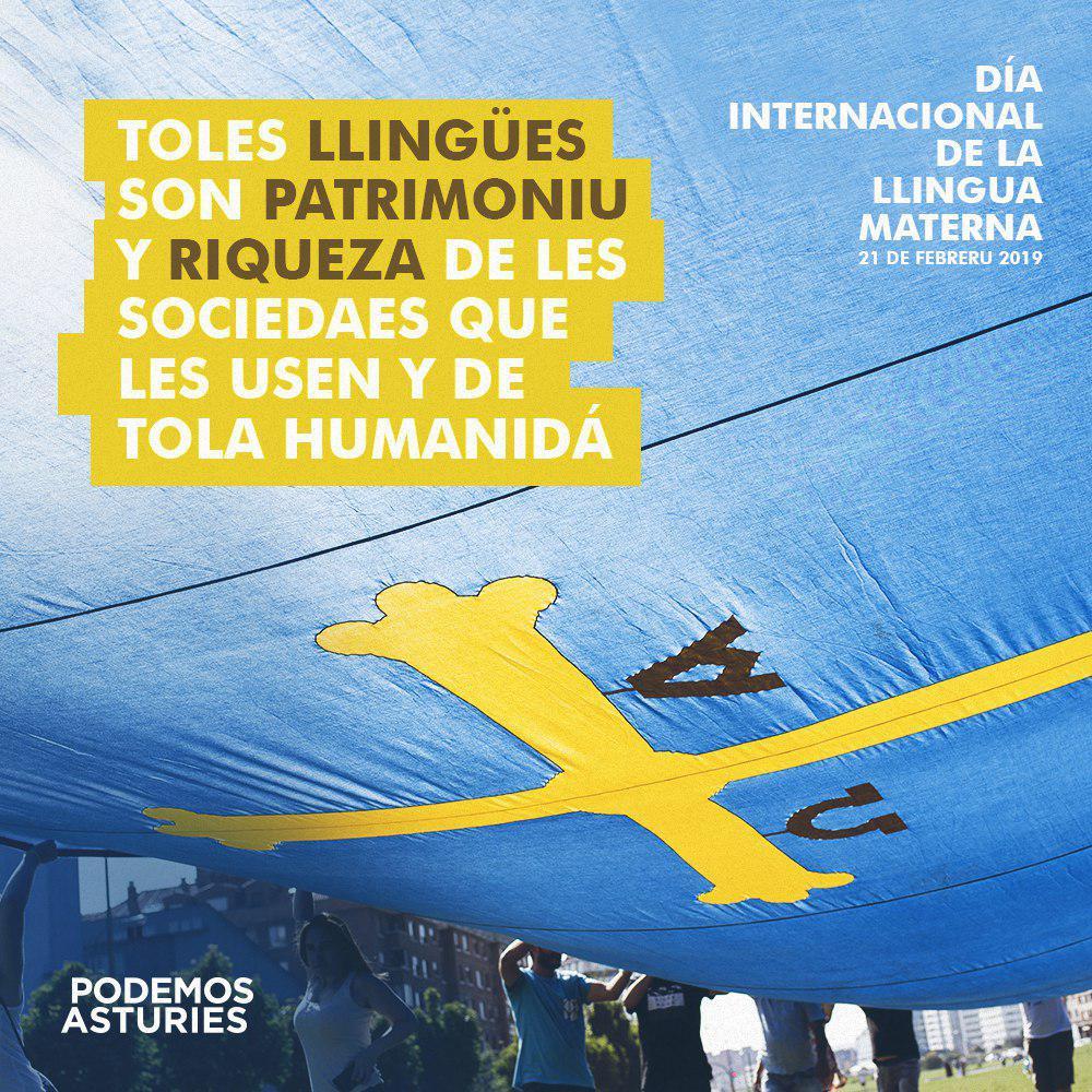 Día Internacional de la Llingua Materna. Toles llingües son patrimoniu y riqueza de les sociedaes que les usen y de tola humanidá
