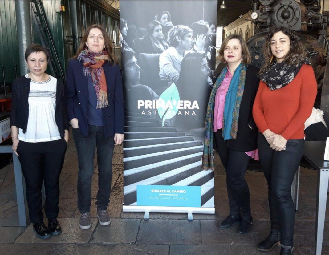 Lorena Gil, Ana Taboada, Tania Gonzalez y Yolanda Huergo en la presentación de la iniciativa Primavera Asturiana, en Xixón.