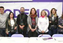 Lorena Gil en la presentación de la candidatura de Podemos Llaviana