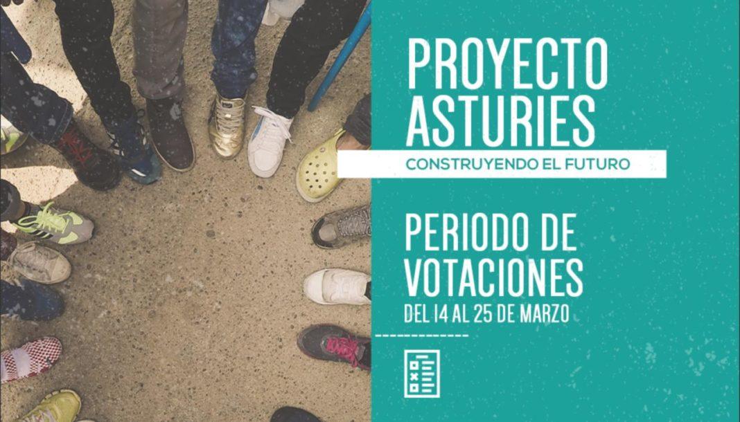 Banner de Proyecto Asturies, aviso del periodo de votaciones entre el 14 y el 25 de marzo de 2019