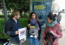 El secretario general, Nuria Rodríguez y Tania González presentaron en Avilés la primera campaña en vallas publicitarias y marquesinas