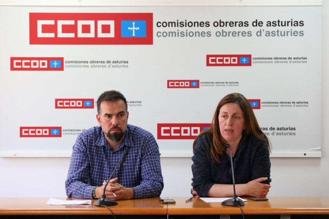 Lorena Gil y Daniel Ripa reunidos con la dirección de CC OO d'Asturies
