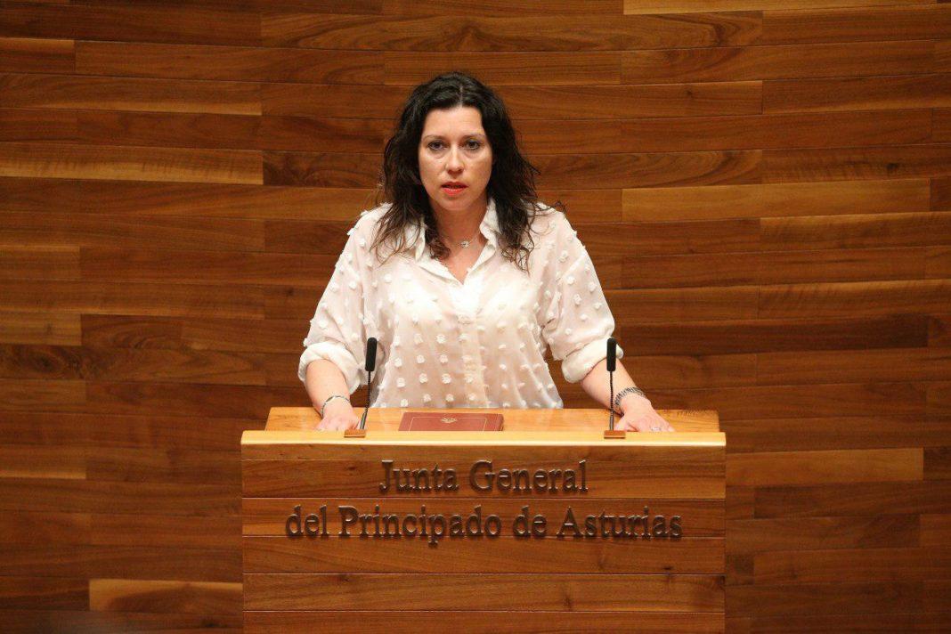 La diputada Nuria Rodríguez en el hemiciclo de la Xunta Xeneral