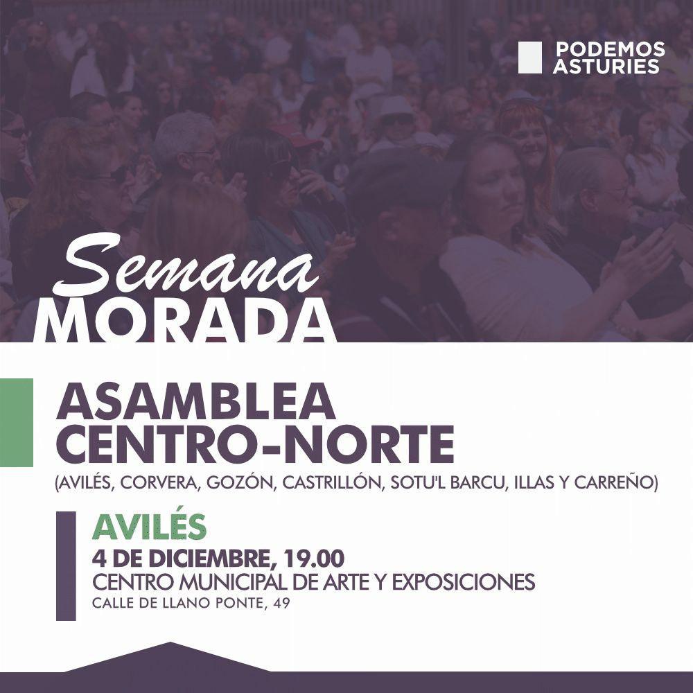 Asamblea Centro-Norte. (Avilés, Corvera, Gozón, Castrillón, Soto del Barco, Illas y Carreño). Avilés, Centro Municipal de arte y exposiciones. Calle de llano Ponte.