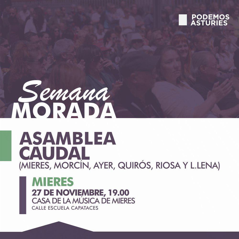Asamblea Caudal (Mieres, Morcín, Ayer, Quirós, Riosa y L.lena), 27 de noviembre 19 horas Casa de la Música de Mieres.