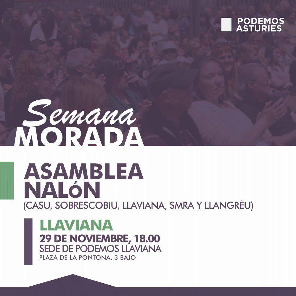 Asamblea Nalón (Casu, Sobrescobiu, Llaviana, Smra y Llangréu), 29 de noviembre, 18 horas, sede de Podemos Llaviana.