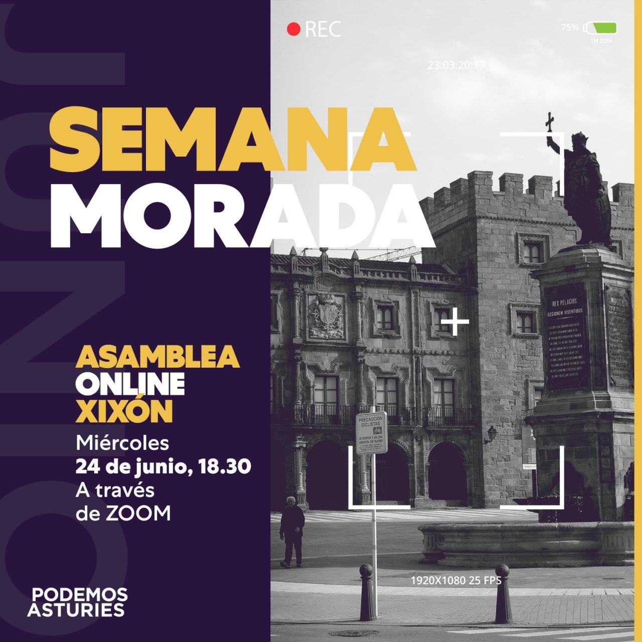 Asamblea online Xixón. Miércoles 24 de Junio, 18:30. A través de Zoom