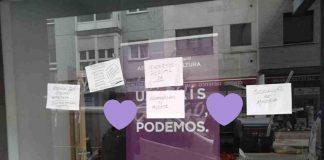 el 3 de abril la sede de Xixón, un día después del atentado contra la sede de Cartagena, amaneció con amenazas de la ultraderecha